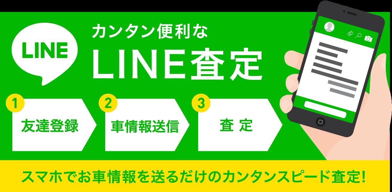 LINE カンタン便利なLINE査定1友達登録 2車情報送信 3査 定 スマホでお車情報を送るだけのカンタンスピード査定!